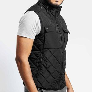 ILTED VEST WITH FAUX LEATHER TRIM